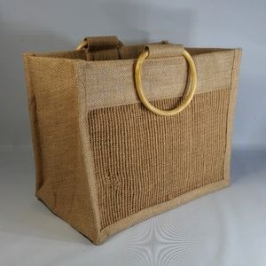 Other - Burlap 6-Pack Can Bottle Bag w/Wood Hoop Handles